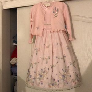 NWT sz 3/3t pink embroidered dress w/sweater